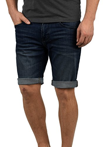 Indicode Quentin Herren Jeans Shorts Kurze Denim Hose Mit Destroyed-Optik Aus Stretch-Material Regular Fit, Größe:S, Farbe:Dark Blue (855) (Denim-jeans Für Männer)