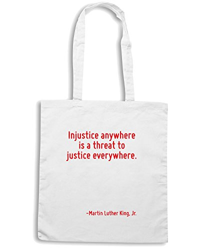 T-Shirtshock - Borsa Shopping CIT0127 Injustice anywhere is a threat to justice everywhere. Bianco