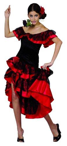 Tänzerin Kostüm Flamenco - KULTFAKTOR GmbH Flamenco-Tänzerin Damen-Kostüm rot-schwarz M/L