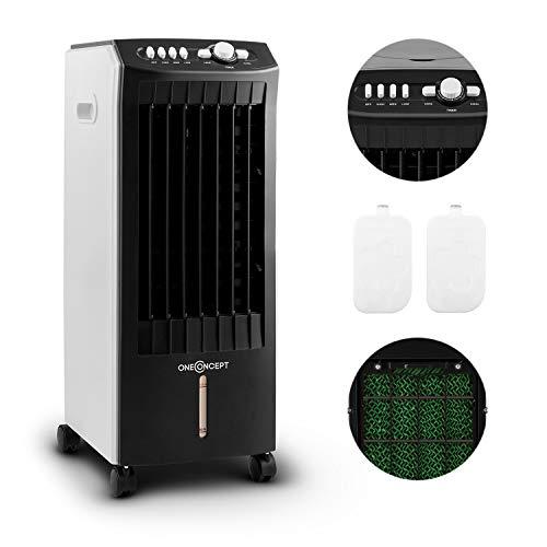 oneConcept MCH-1 V2 mobiles Klimagerät Luftkühler Ventilator zusätzliche Luftbefeuchtungs- und Luftreinigungsfunktion (65 Watt, 400 m³/h Luftdurchsatz, inkl. 2 x Kühlakku) schwarz-weiß