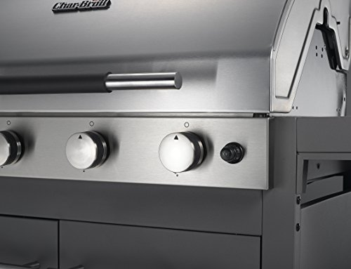 Char-Broil C46 – Conventional 4 Burner Gas Barbecue Grill with Side-Burner, Stainless Steel Finish.