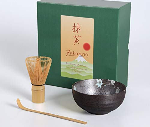 Aricola Té Matcha Juego de 3Piezas, 250ML Antracita/Azul, salpicado Cuenco para Té Matcha (Cuchara de bambú Escoba, en Caja de Regalo, Original