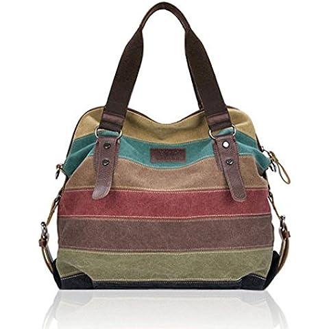 Lacaca donna in tela a strisce Handbag Queen-Borse tracolla, colori