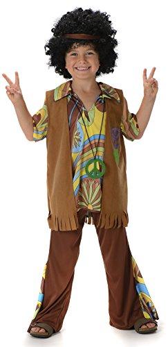 Jungen Hippie 1960s 70s Jahre Groovy Kinder Hippie Kostüm Neu (Large 8 -10 Jahre)