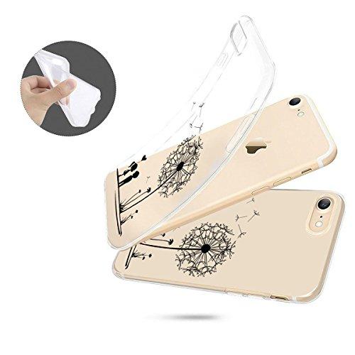 finoo | iPhone 8 Plus Weiche flexible Silikon-Handy-Hülle | Transparente TPU Cover Schale mit Motiv | Tasche Case Etui mit Ultra Slim Rundum-schutz | Princess white Pusteblume
