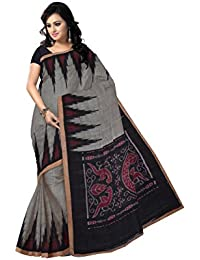 Odisha Saree Store Women's Cotton Kargil Saree (AMOD7512, Grey with Black)