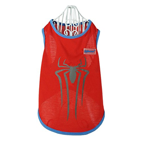 Pawow Reflective Spiderman Pet Costume Puppy Dog Cotton T-shirt Clothes, Medium, Red by Pawow