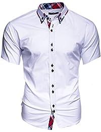 Kayhan Uni Kurzarm Hawaii Herren-Hemd Slim-Fit Kurzarm-Hemden S-6XL
