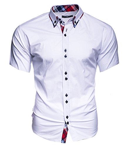 KAYHAN Original Herren Kurzarm Hemd mehrere Farben zur Auswahl Model Hawaii Hawaii Weiß