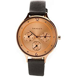 Skagen Women's Quartz Watch with Rose Gold Dial Analogue Display and Black Leather Bracelet SKW2392