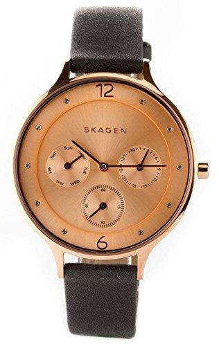 Skagen–Reloj de Cuarzo para Mujer con Oro Rosa Esfera analógica Pantalla y Pulsera de Cuero Negro skw2392