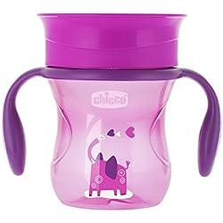 Chicco Perfect 360 - Vaso con membrana de silicona anti goteó, color rosa