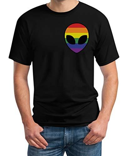 Gay Kostüm Link - LGBT Flagge Mini Rainbow Flag Gay Alien Seitentasche Herren T-Shirt Medium Schwarz