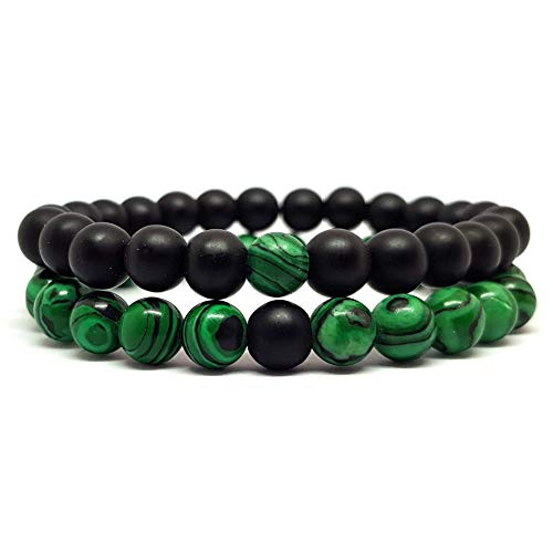 KARDINAL.WEIST Naturstein Perlenarmband aus Malachit mit Onyx Perle, Chakra Schmuck für Damen und Herren, Yoga Armband, Energie Armband (2 - Partnerarmband)