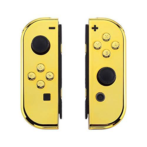 eXtremeRate Cover Impugnatura Custodia JoyCon Controller con Pulsanti Tasti Kit di Ricambio per Nintendo Switch Joy-Con Non Incluso Guscio di Console(Oro Cromo)