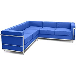 Canapé d'angle LC2 style Le Corbusier (5 places)- Simili Cuir Bleu foncé