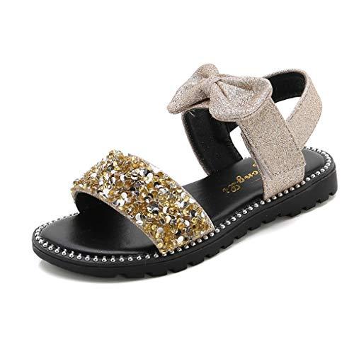 Sandalen für Baby Mädchen,Dorical Sommer Kleinkind Cute Bowknot Bling Prinzessinschuhe,rutschfest Strandschuhe,Fit 4-14 Jahre Mädchen(Gold,12Jahre) ()
