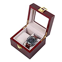 ACZZ 2-Slot Watch Box/Jewelry Collection Finishing Wooden Box/Soft Flocking Lining Metal Buckle Closed with Glass Top,A,Wooden Box