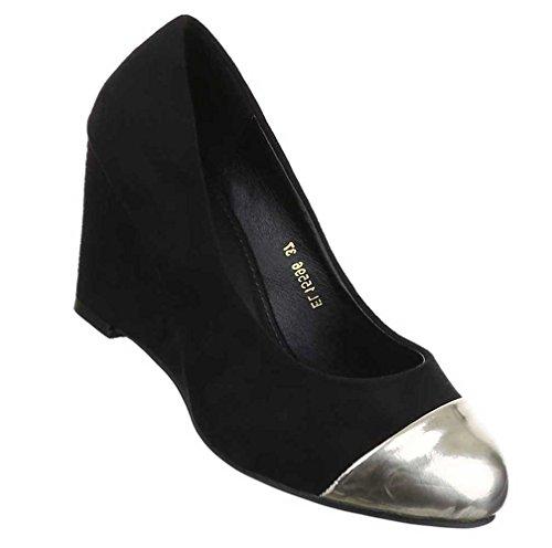 Damen Pumps Schuhe Keil High Heels Stiletto Schwarz 36 37 38 39 40 41 Modell Nr1 Schwarz