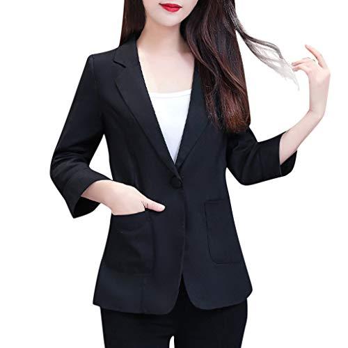 Deloito Herbst Mantel Damen Übergröße Anzug 3/4 Arm Revers Cardigan Knopf Taschen Blazer Jacke Frauen Freizeit Büro Strickjacke (Schwarz,XXXX-Large)