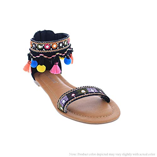 5ee84899ddb5 Liliana Shoes Sandals with Colorful Straps and Tassels Aries 11 Black Size 6