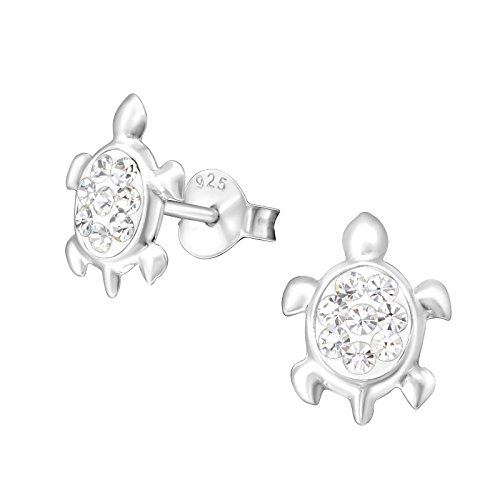 Monkimau 925 Silber Schildkröten Ohrringe 16 funkelde Kristalle Kinder-Schmuck Sterling Silver Damen Frauen Mädchen-Ohrstecker Geschenk-e (Silber)