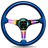 NRG-Innovation-BLUE-wood-wheel,-350mm,-3-spoke-center-in-NEO-CHROME-steering-wheel