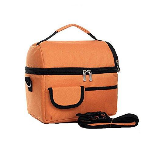 Meijunter Women Men Bambini Lunch Picnic Carry Tote Conservazione Borsa Lunch Box Portable Impermeabile HandBorsa Insulated/Refrigeratore Orange