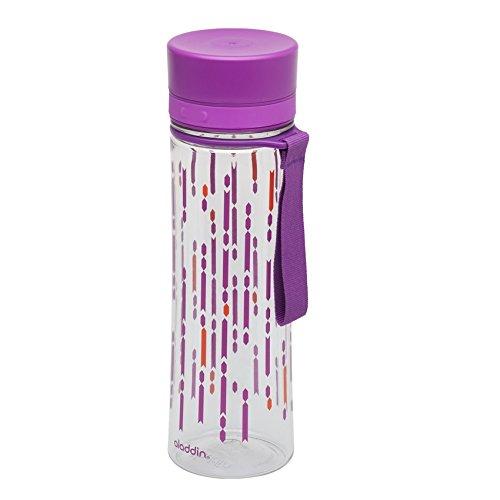 Aladdin AVEO Trinkflasche aus Tritan-Kunststoff, 0.6 Liter, Berry, Auslaufsicher, Durchsichtig, Wasserflasche Fahrradflasche