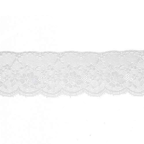 Trimming Shop 10m x 60mm weißer Baumwollspitzenbesatz bestickt annähen Applique für Damen Kleid, Dessous, Haarband, Rüschen, Hochzeit Brautkleid Dekoration - Applique Bodysuit