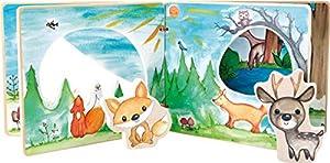 small foot company- Libro para bebés con imágenes Cuatro Lados y Figuras de Madera para Jugar interactivamente, Entrena la motricidad Fina Juguetes, Multicolor (Small Foot by Legler 11234)