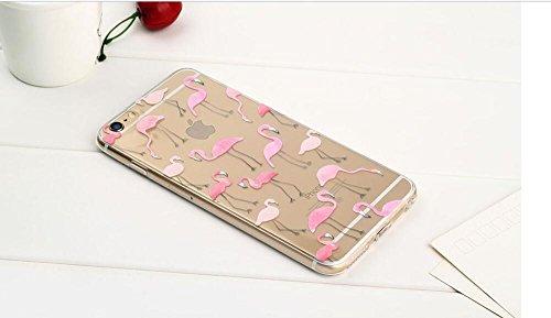 iPhone 6sPlus Cover, MAOOY Moda Flower Animal Frutta Flamingo Modello Design Case per iPhone 6Plus, Flessibile Ultra Sottile Leggero Bumper Copertura di Soft Gomma Sveglio Cristallo Gel Antiurto Prote Fenicottero