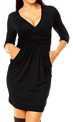 Glamour Empire. Damen Jersey Gerafftes Tulpenkleid mit Taschen Gr. 38-48. 236 (Schwarz, EU 40, L)