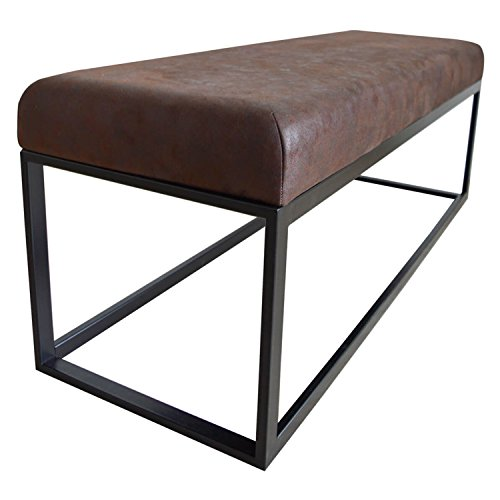 Damiware Couchy Sitzhocker Sitzbank | Esszimmer, Küche, Wohnzimmer | 121 cm | Mikrofaser Leder und Metallbeine (Burgundy)