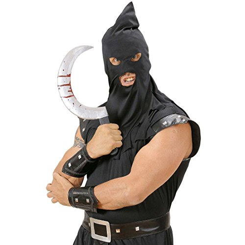 Blutige Sichel Horror Sense 45,5 cm Psychopaten Messer Zombie Rundsichel Sensenmann Waffe Halloween Kostüm (Sensenmann Sichel Kostüme)