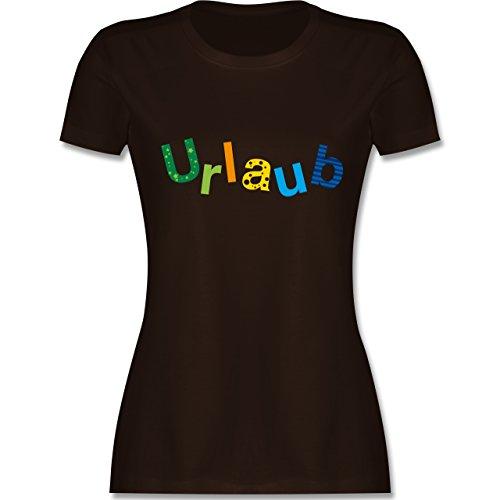 Statement Shirts - Urlaub - tailliertes Premium T-Shirt mit Rundhalsausschnitt für Damen Braun