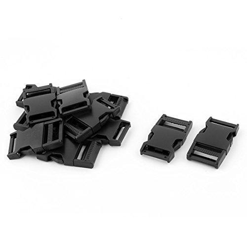 Dealmux Plastique Sac à dos rectangulaire en Toile double côté Boucle à libération rapide 10 pcs Noir