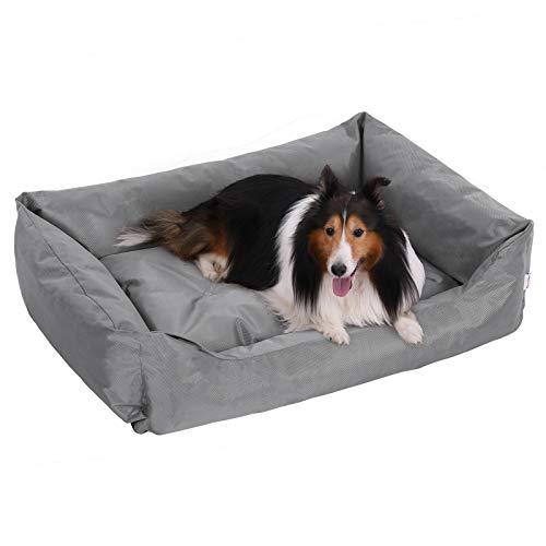 FEANDREA Hundebett, XXL Hundekorb, gemütliches Hundesofa, Haustierbett, Hundematte, im Schlafzimmer, Wohnzimmer und Flur, einfache Reinigung, Rutschfest, 100 x 70 x 28 cm, grau PGW28G -