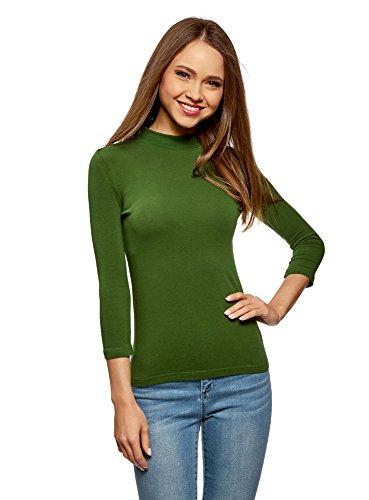 oodji Ultra Damen Baumwoll-Pullover mit 3/4-Arm, Grün, DE 36 / EU 38 / S