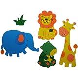 5 tlg. Set 3-D ! Wandtattoo / Fensterbild - Moosgummi - Löwe Elefant Giraffe - Zootiere - 3-D Wandsticker / wasserfest - ideal auch für das Badezimmer