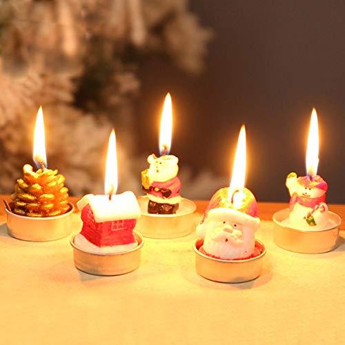 Mobestech 3 piezas velas de navidad forma de casa festiva velas de té delicadas hechas a mano adornos navideños para decoración de fiesta de navidad en casa