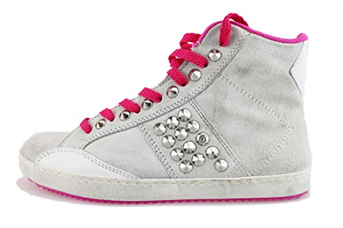 CULT sneakers donna grigio / ghiaccio fucsia camoscio borchie Ghiaccio/fucsia