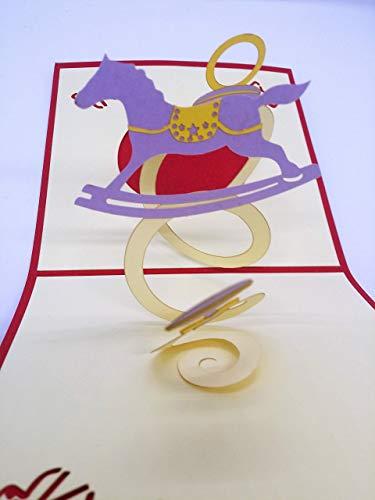 BC Worldwide Ltd handgemachte 3D-Pop-up Baby Geburtskarte, es ist ein Junge, Baby geboren Karte, Baby-Dusche-Karte, Baby Dummy Baby Shaker hölzerne Schaukelpferd Grußkarte