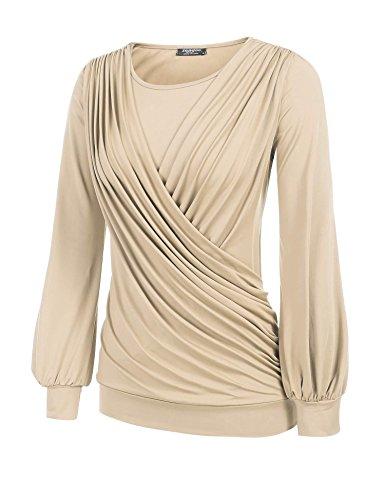 9f783f16d2b1 CHIGANT Damen Langarmshirt Elegant Casual Oberteile Drapiert Basic Pullover  mit Wickel-Optik S-XXL