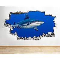 Z081 Shark Ocean Sea Animal Boys Bathroom Wall Decal Poster 3D Art Stickers Room Kids Bedroom Baby Nursery Cool Livingroom Hall Boys Girls (Medium (52x30cm))