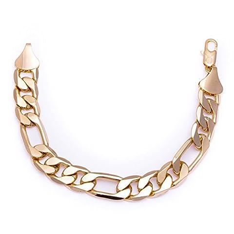 Luxury 18k Gold Plated Figaro Bracelet Bling solid chunky various lengths