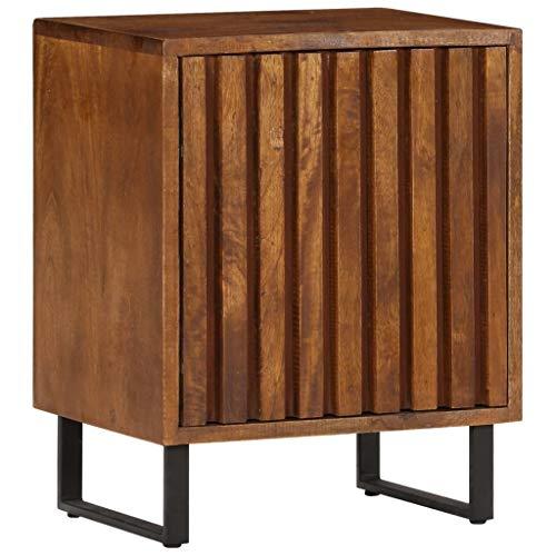 Festnight Nachttisch | Industrial Nachtschrank | Vintage Nachtkommode | Schlafzimmer Beistelltisch | Massives Mangoholz mit Eisenrohrbeinen 40 x 30 x 50 cm