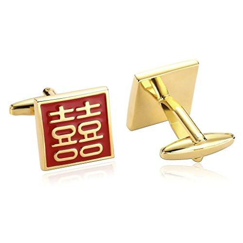 Aooaz Gemelli Uomo Piazza Incisa Cinese Autoattere Acciaio Inossidabile Camicia Gemelli Oro Rosso