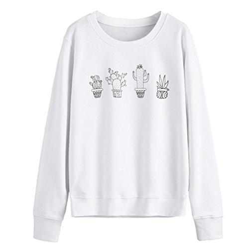 Amlaiworld Komfortabel Topfpflanzen druck Sweatshirt damen Kaktus Niedlich mode pullover locker Herbst bauchfrei pulli für Mädchen (M, Weiß)