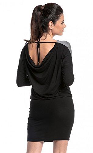 Zeta Ville - Umstandsmode Still-Kleid Kontrastdetails binden Rücken - Damen 225c Schwarz